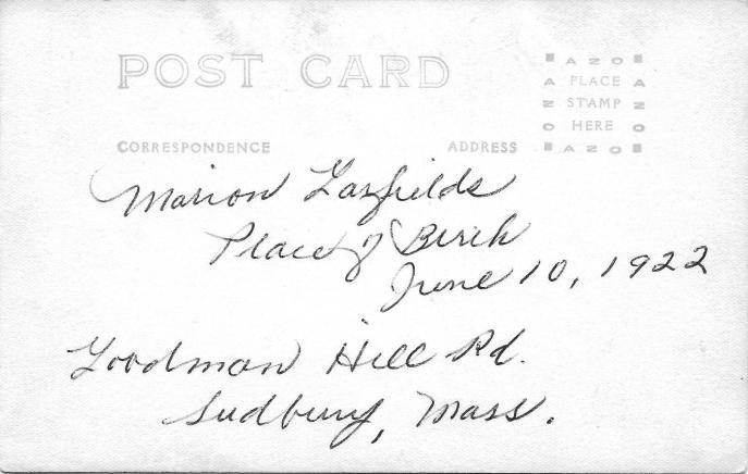 Marion Garfield Paton - Sudbury Place of Birth (Reverse Side)